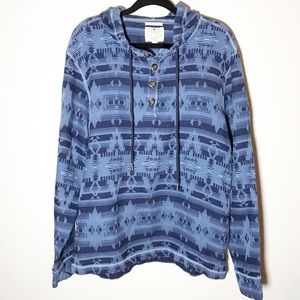Lucky Brand Men's Blue Print Hooded Pullover Large